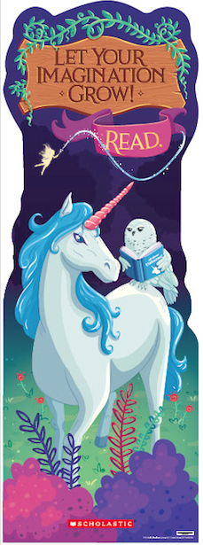 "Picture of unicorn and banner saying ""Let your imagination grow! Read."""